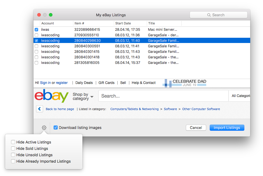 Importing Existing Listings From Ebay